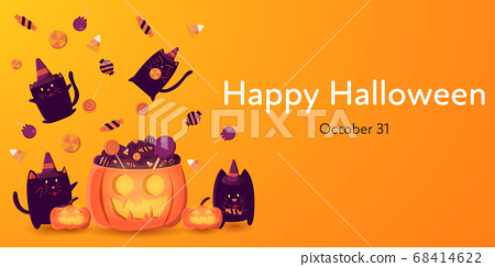 Orange Halloween Day banner vector illustration with group of black cat in witch hat enjoy with candies. 68414622