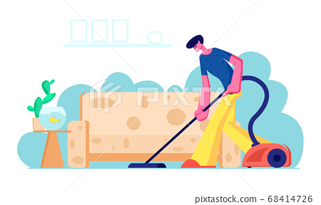 Householder Vacuuming Home with Vacuum Cleaner 68414726