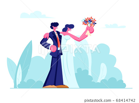 Happy Newlywed Young Loving Couple of Bride 68414742