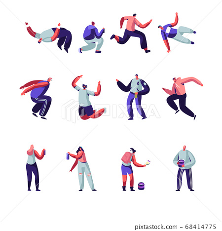 Parkour and Graffiti Characters Set. Youth City Culture, Urban Lifestyle. Men Jumping Over Barriers, Street Artist Teenagers 68414775