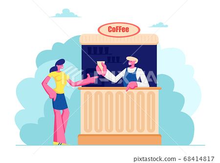Young Woman Buying Coffee in Booth on Street. Summer Cafe with Drinks, Girl Buy Hot Beverages in Outdoor Cafeteria, Leisure 68414817