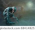 Swamp monsters scene 3D illustration 68414825