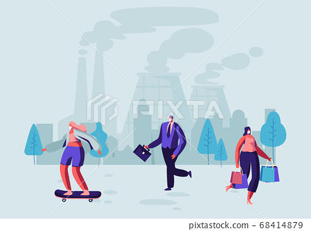 Air Pollution, People in Protective Face Masks 68414879