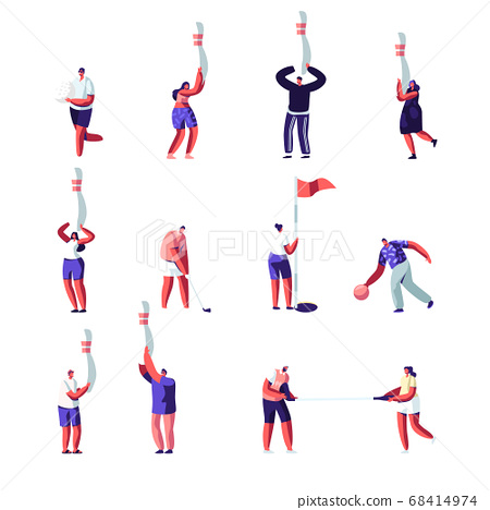 Golf, Bowling Male and Female Characters Set. Men and Women in Sportswear Uniform with Sports Game Equipment, Sport 68414974