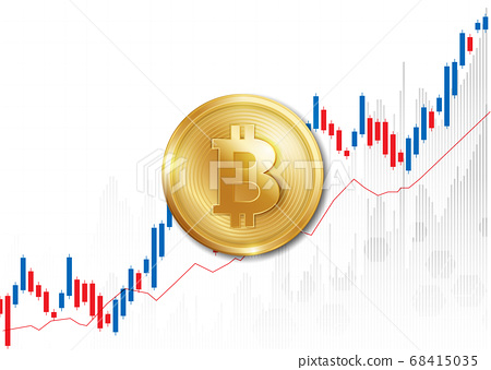 Golden coin with bitcoin sign. Money and finance symbol. Vector design. 68415035