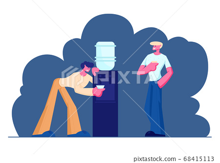 Business People Break at Work. People, Colleagues, Office Workers, Friends, Drinking Coffee, Tea, Water from Cooler, Employees 68415113
