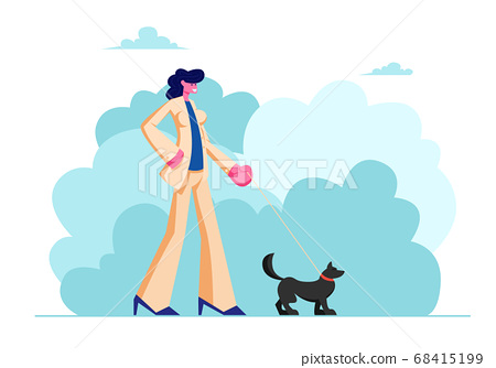 Female Character Walk with Dog in Public City Park 68415199
