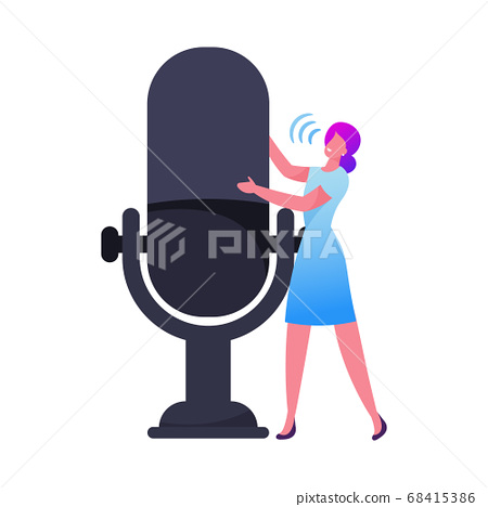 Tiny Female Character Speaking at Huge Microphone Isolated on White Background. Business Conference, Online Meeting 68415386