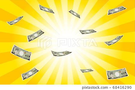 춤추는 금리 만엔 지폐를 방사형 배경으로 강조 표시 한 68416290