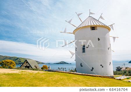 Greek windmill at Shodoshima island Olive park in Kagawa, Japan 68416704