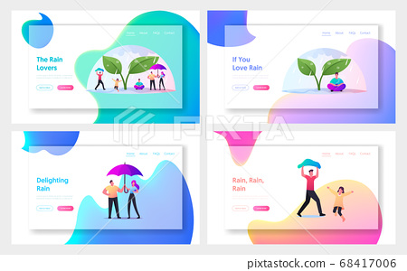 Wet Rainy Weather Landing Page Template Set. Tiny Characters with Umbrellas Hiding from Rain under Huge Plant 68417006