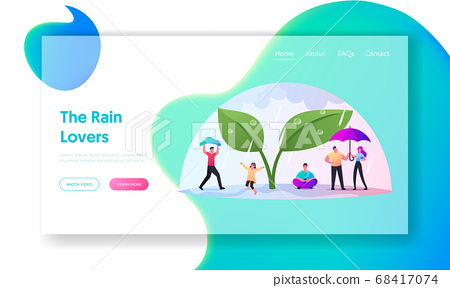 Rainy Autumn or Spring Weather Landing Page Template. Tiny Characters with Umbrellas Hiding from Rain under Huge Plant 68417074