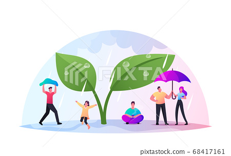 Happy Tiny Characters with Umbrellas Hide from Rain under Huge Green Plant, Cold Water Pour From Sky, Wet Rainy Weather 68417161