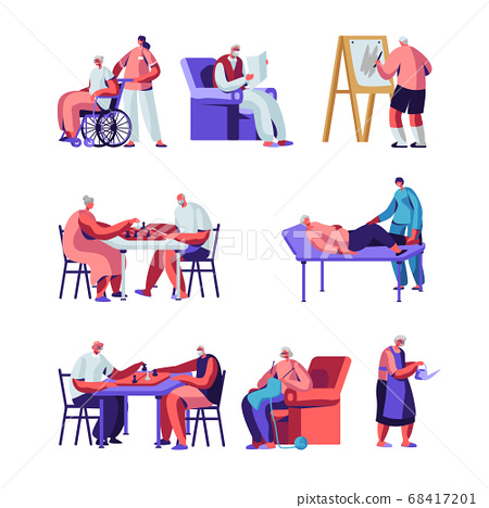 Seniors Set, Male and Female Characters in Nursing Home Engaging Hobby Care of Plants, Painting, Playing Chess, Knitting 68417201