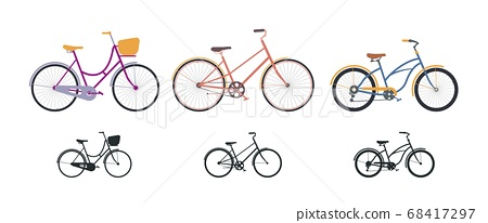 Set of three vintage bicycles in flat style and silhouette icons. 68417297