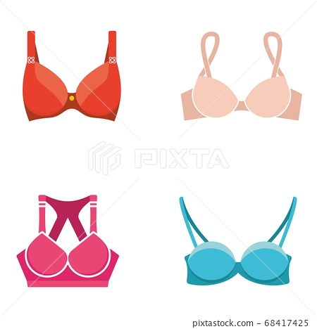 Vector bra set. Stylish lingerie, women colorful underwear and nightclothes isolated on white. 68417425