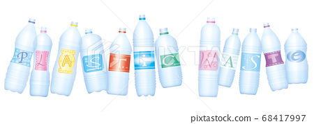 Plastic waste symbolized by bottles which make the word PLASTIC WASTE. Empty water bottles, symbol for excessive consumption and environmental pollution. Isolated vector illustration on white. 68417997
