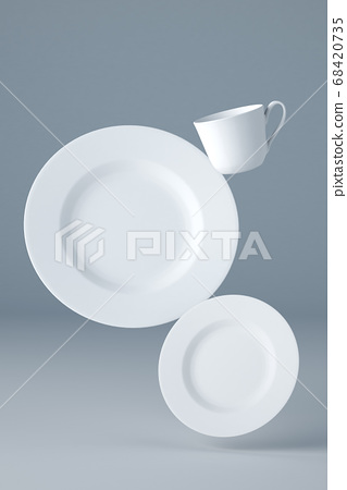 Mockup of two white plates and a cup levitating on blue background 68420735
