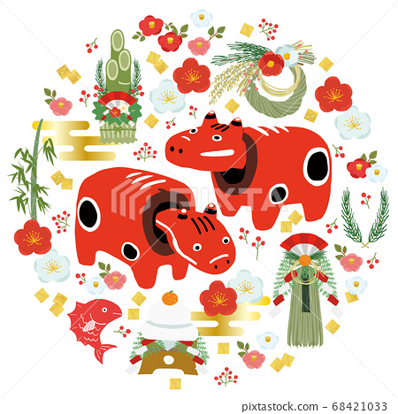 Japanese new year motif New Year's card 2021 ox year vector illustration 68421033