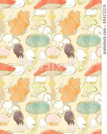 秋季蘑菇連續背景圖案 68423319