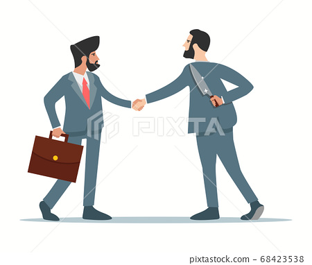 Business partner holds a knife in hand with 68423538