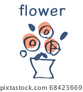 꽃병과 붉은 꽃 텍스트 68423669