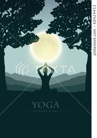 yoga for body and soul meditating person silhouette by full moon 68424453
