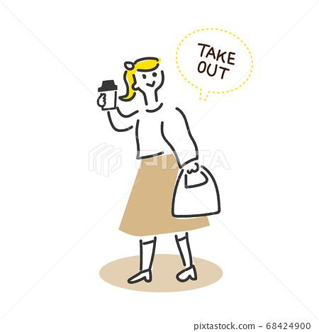 女人走路與外賣咖啡 68424900