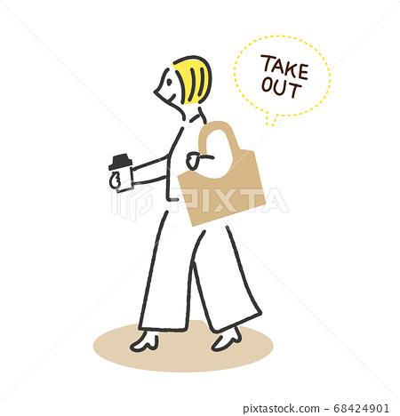 女人走路與外賣咖啡 68424901