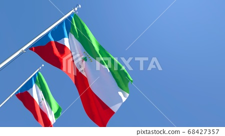 3D rendering of the national flag of Guinea waving in the wind 68427357