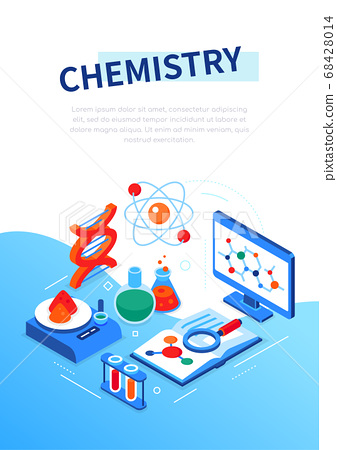 Chemistry concept - modern colorful isometric web banner 68428014