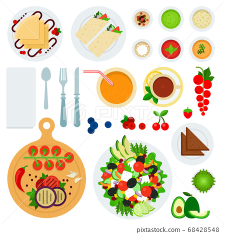 Set of Morning Food flat vector illustration. 68428548