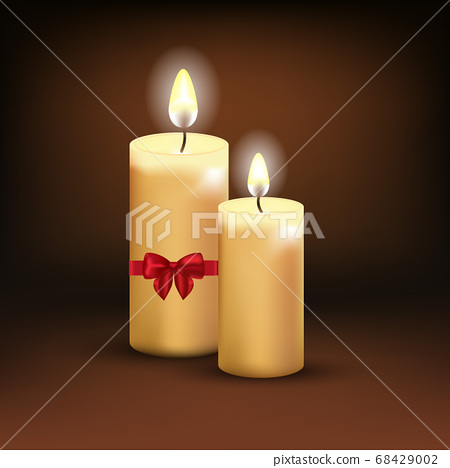 Beautiful Isolated realistic candles at dark. Vector illustration 68429002