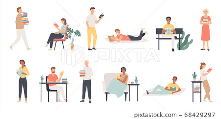 Readers. Book lover men and women read in library, world book day. Students preparing for examination, educational cartoon vector characters 68429297