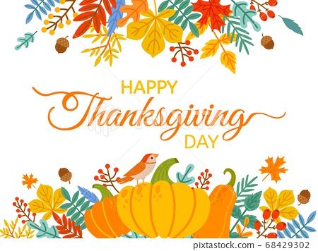 Thanksgiving Day. Hand drawn Happy Thanksgiving cover with lettering and holiday elements fall yellow leaves and berries vector background 68429302