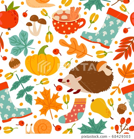 Autumn seamless pattern. Drawing pumpkin, nuts, plants. Abstract harvest time, thanksgiving day print paper or textile vector texture 68429303