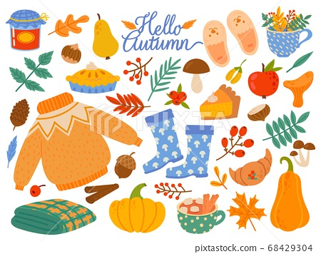 Autumn elements. Falling leaves, yellow plants and food, harvest festival or thanksgiving day seasonal abstract cartoon vector set 68429304