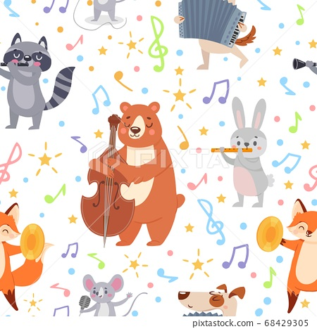 Animal musicians seamless pattern. Funny animals musicians play different musical instruments wallpaper, wrapping or textile vector texture 68429305