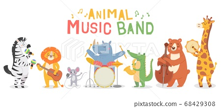 Animal musicians characters. Funny animals play musical instruments, musicians with guitar, sax and maracas, violin kids cartoon vector set 68429308