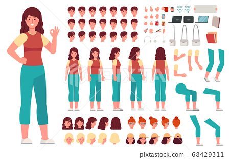 Cartoon female character kit. Woman casual clothes animation body parts. Girl constructor with hand gestures and various heads vector set 68429311