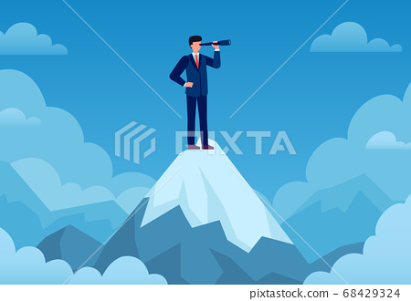 Business vision. Businessman on mountain peak with telescope looking new idea, business startup, visionary forecast, success vector concept 68429324