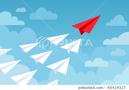 Paper plane. Flying planes white and red color, start up new idea, leadership. Business competition, success financial goal vector concept 68429327