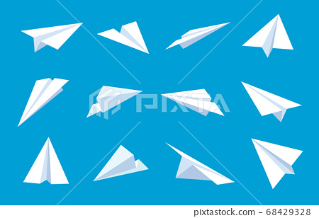 Paper plane. Flying planes in blue sky, white paper airplanes from different angles and direction, message or traveling flat vector symbols 68429328