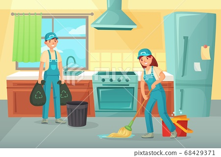 Professional cleaning workers cleaning kitchen. Service household 68429371