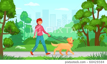 Girl walking with dog. Person walk canine 68429384