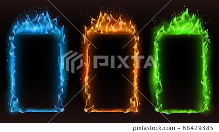 Fire frames diffrent colors. Vector fire frame 68429385