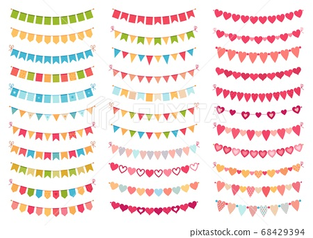 Bunting flags collection for decoration party, celebration birthday 68429394