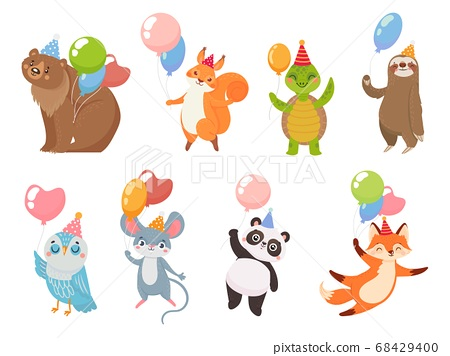 Animals with balloons, greeting party celebration birthday 68429400