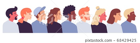 Multiethnic crowd of people profile portrait. Vector crowd 68429425