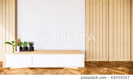 tropical room interior with cabinet and plants 68430287